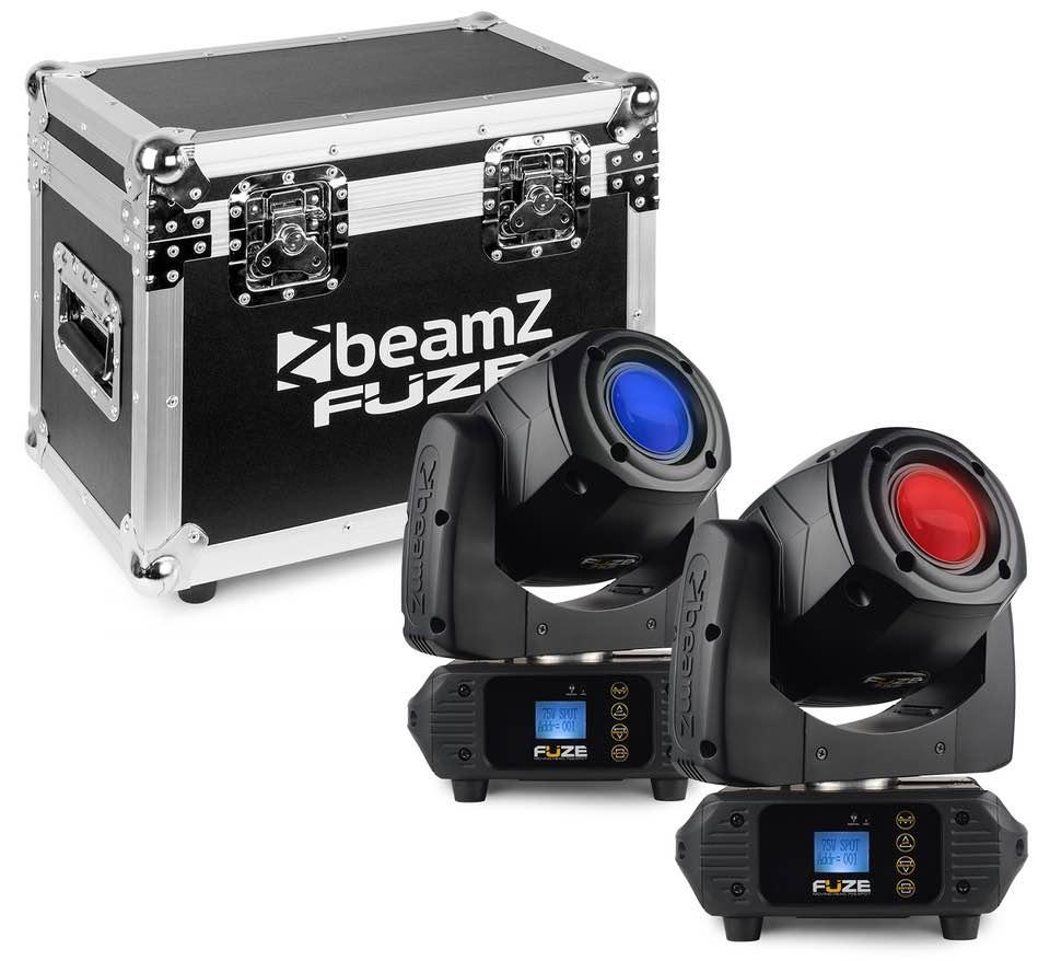 BEAMZ FUZE75S TESTA MOBILE SPOT 75W LED SET 2PZ CON FLIGHTCASE