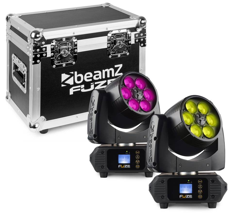 BEAMZ FUZE610Z TESTA MOBILE WASH 6X 10W LED ZOOM SET 2PZ CON FLIGHTCASE