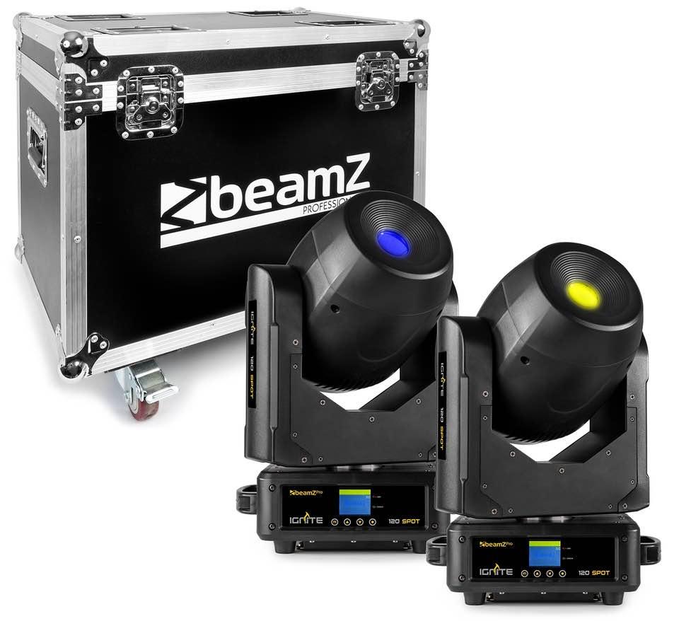 BEAMZ IGNITE120 TESTA MOBILE LED SPOT 120W SET 2PZ CON FLIGHTCASE