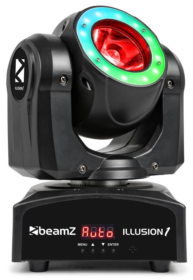 BEAMZ ILLUSION 1 TESTA MOBILE LED BEAM CON ANELLO LED
