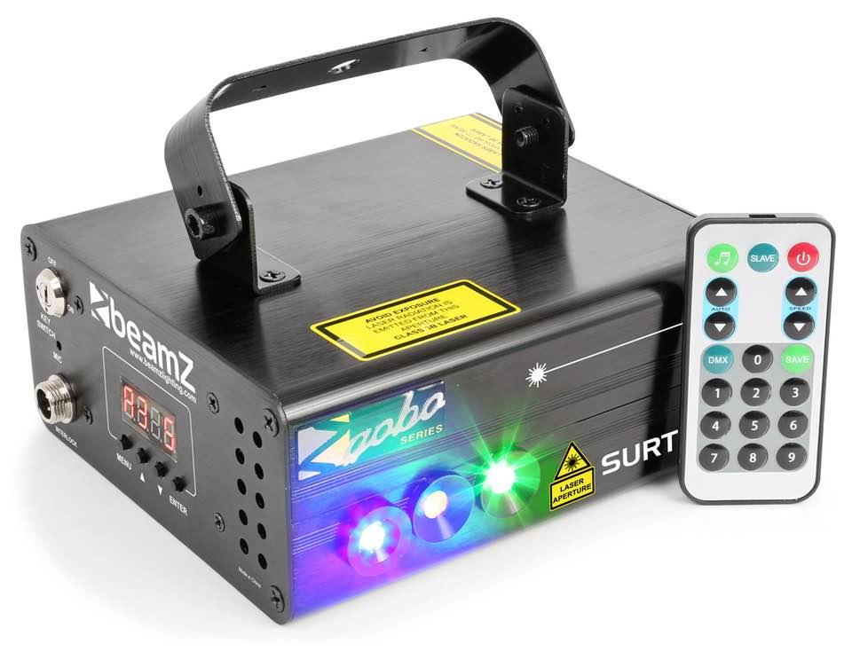 BEAMZ SURTUR II DOPPIO LASER RG GOBO DMX IRC 3W LED BLU